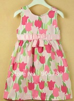Платье для девочек 12pcs/lot 2 Colors Children's Summer Dress Girl's Pure Cotton Baby Clothes Girl Strawberry Dress