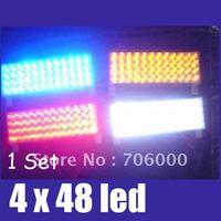 192 LED 4 x 48 LED Car / AUTO Emergency Truck Strobe Lights LAMPS 3 mode Amber / Red / White / Blue