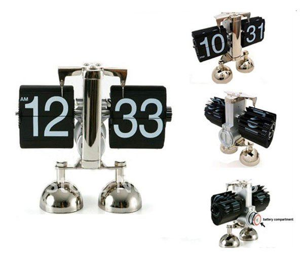 5pcs/lot Free Express Shipping Modern Retro Double Stands Auto Flip Desk Mechanical Clock Geared(China (Mainland))