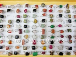 Mixed Shapes Nature Stone Ring Simulated Gemstone Ring Fashion Ring 100pcs Free Shipping(China (Mainland))