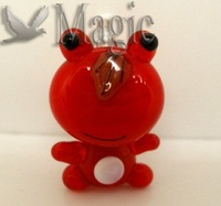FREE SHIPPING 4 Red Animal Frog Murano Lampwork Glass Beads Pendants Jewelry Making Findings 22x14mm