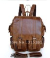 100% Real Vintage Tan Leather Fashion Brown 3 Use Briefcase Laptop Backpack Tote Messenger bag Wholesale Free Shipping #6083