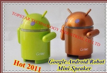 2011 Hot Selling !!! Google Android Robot Mini Speaker Low price Top quality + Free Shipping