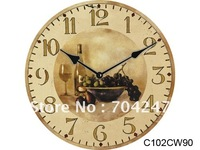 2014/free shipping/antique wooden clock/quality assurance/delicate design/water transfer printing