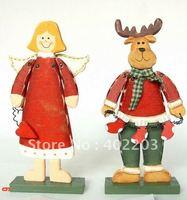 christmas decorations-christmas gifts-christmas ornament-handcarved-angle and deer standing-2pcs/set-by randomly