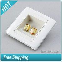 24K Gold Speaker Wall Plate 2 Binding Post Banana Plug #225690001