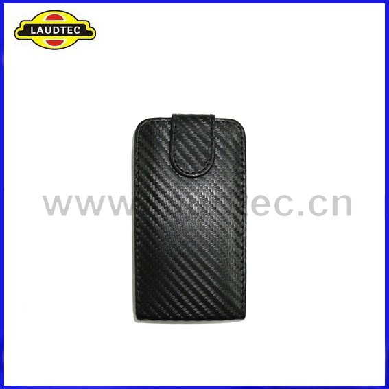 200pcs/lot New Arrival High Quality Black Color Carbon Fiber Leather Flip Case Cover for Nokia E6 + DHL Free Shipping(China (Mainland))