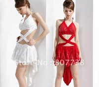 The new 2011 costumes, sequined dress costumes Night DS fishtail halter dress Red / White 21184