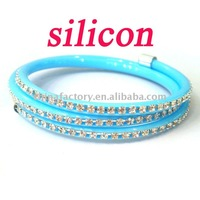 fashion lastest style 3lines rhinestone soft silicon cuff bracelet