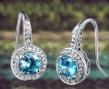 Free Shipping!!!Solid 6.32Ct 14Kt White Gold Diamond Light Blue Topaz Earrings,Amazing,Fancy