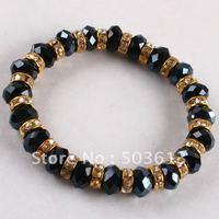 Free Shipping By DHL 100Pcs Fashion Black Crystal Beads Bracelet (gcb1007x10)