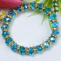 Free Shipping By DHL 100Pcs Fashion Blue AB Crystal Beads Bracelet (gcb1008x10)