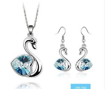 Silver color mix color austrian swrski crystal swan necklace,earring,sets