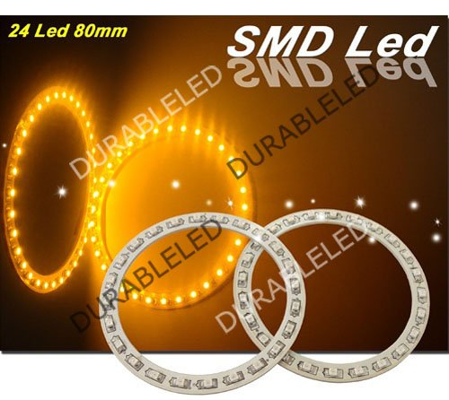 SMD LED angel eyes head ring lights lamps 24 LED car angel eyes ring 80mm truck angel eye SMD rings 12V 100pcs wholesales yellow(China (Mainland))