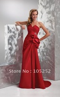 2011 wholesales sweet-heart red taffeta prom gown