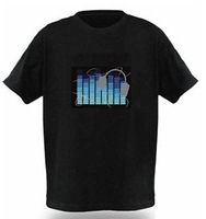 Free shipping EL T-shirt,elequalizer t-shirt,el sound active,el music flashing tshirt ,el music tshirt el panel,led tshirt