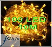 Yellow 100 LED 10M christmas wedding String Fairy Lights Christmas led light,10pcs/lot,free shipping