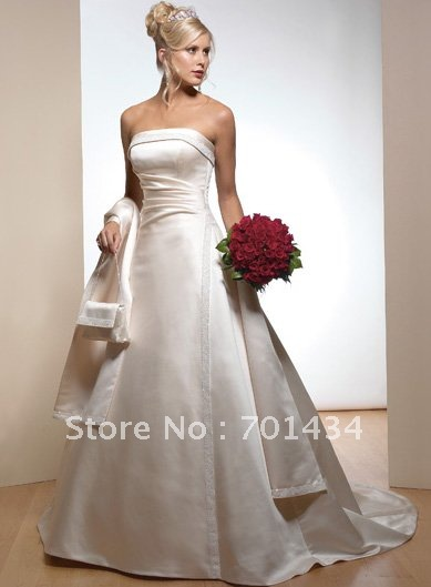 Retail Olympia features Satin Strapless A-line Floor Length wedding dress 1008(China (Mainland))