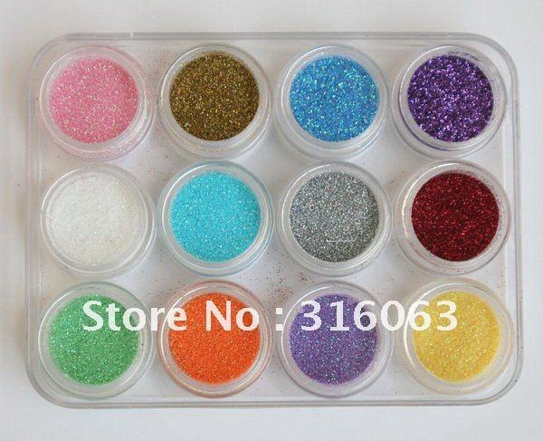 Free Shipping 12pots/set Nail Acrylic Powder Dust Decoration for Nail Art Tips NA145(China (Mainland))