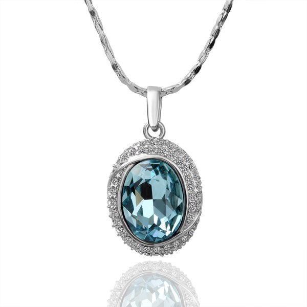 18k white gold plated Necklace CZ Crystal Woman 's Necklace wholesale free shipping KN036(China (Mainland))