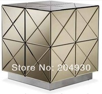 MR-401030 glass mirrored cube, end table, side table