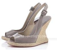 2011 latest high heel red sole sandal wedding shoe leather women thick heel peep toe shoe platform sandal lady women party shoes