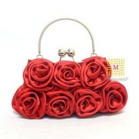 Wholesale fashion lady's silk wedding bag/handbag,Pure color and Flower style evening bag Free Shipping cdb010