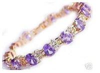 Superb Jewelry Natural Gorgeous amethyst 14 K GOLD Bangle bracelet shipping free b-20