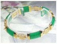 2pc Superb Jewelry Natural  jade 14 K GOLD Bangle bracelet shipping free