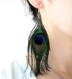 Free shipping / 12 pair / lot Tibetan Natural Peacock Feather Earring / Earring / factory direct wholesale earrings