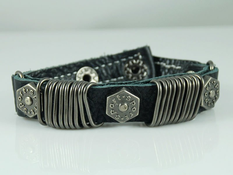 Free shipping&wholesale Christmas gift D121 Dark Blue Punk genuine leather Bracelet Cuff Mens(China (Mainland))