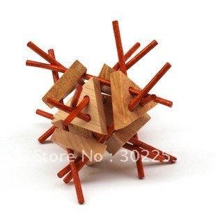 wholesale 50pcs/lot Branch Out- 9cm Wooden Brain Teaser Puzzle Toy