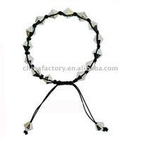 fashion jewelry silver cone wax cord shamballa bracelet