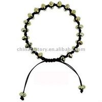 fashion jewelry knotted cord faced bead shamballa bracelet