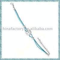 2011 fashion cord peace alloy  fashion latest waxed cord bracelet