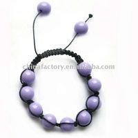 fashion 12mm purple ball bead braided handmade shamballa bracelet