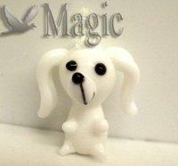 FREE SHIPPING 4 White Animal Dog Murano Lampwork Glass Beads Pendants Jewelry Making Findings
