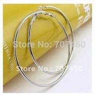 Fashion Brand Innovative 750MM / 7.5CM Sterling Silver Big Hoop Earrings For Women Girls 2014 ,Free Shipping