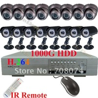 CCTV 16CH H.264 DVR Armour Dome camera security system Free shipping