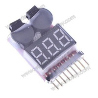 2-in-1 1~8S Lipo Battery Low Voltage Buzzer Alarm for RC Helicopter - White + Black  10061