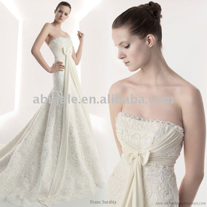 Strapless A-line Lace Bridal Wedding Dress(China (Mainland))