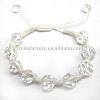 fashion handmade faced round clear crystal shamballa bracelet