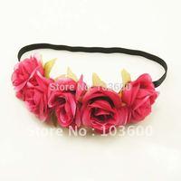 Free shipping! Wholesale-hair accessories flower hairband 24pcs/lot fuchsia
