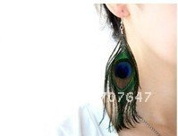 wholesale-NEW Classic Vintage Luxury Feather Dangle Peacock Earrings.500pcs/lot #03(China (Mainland))
