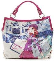 2011 New Design of Lady's HandBag/Fashion Lady's Single inclined shoulder bag across / Han edition illustration sequins bag