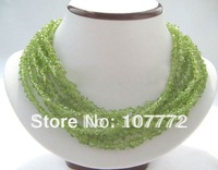 "Beautiful 18"" 8row Genuine Natural peridot necklace-free shippment"