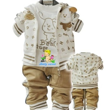 DHL/EMS Free Shipping 100% Cotton Childen's Clothing Set Kids Spring/Winter Baby Unisex Sports Clothing Suit Set 24sets/lot