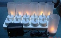 Wholesale & free shipping: 12 rechargeable Tea Light Candles with Glass Votives,48pcs/lot