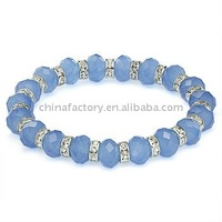 fashion stretch one row  solid blue faced crystals glass beaded bracelet with spacer