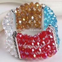 fashion stretch 4strands metal faced crystals bangle bracelet